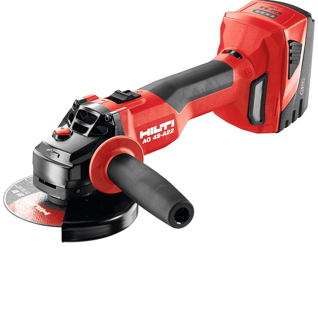 The Hilti AG 4S-A22 cordless angle grinder